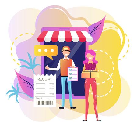 Smiling man courier deliver box. Online shopping e commerce. Fast internet modern delivery technology website. Vector flat cartoon graphic design illustration