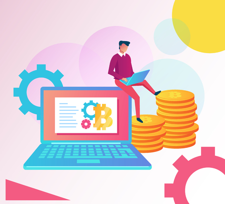 Businessman character sitting on laptop and mining crypto currency bitcoin virtual money. Online web technology. Vector cartoon graphic design isolated illustration Illustration