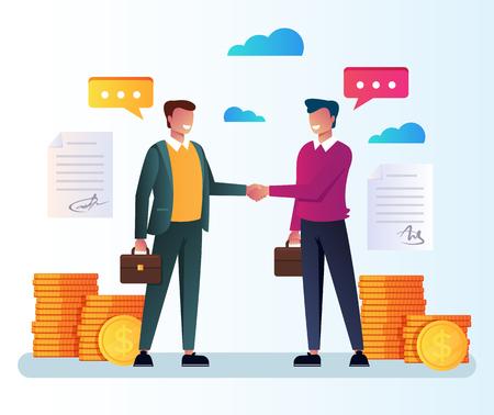 Due uomini d'affari. Investimento di cooperazione di partenariato di infographics di strategia finanziaria. Illustrazione di progettazione grafica isolata del fumetto piatto vettoriale