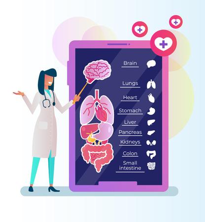 Woman doctor. Online medicine consultation service lessons platform website. Vector flat cartoon isolated graphic design illustration Illustration