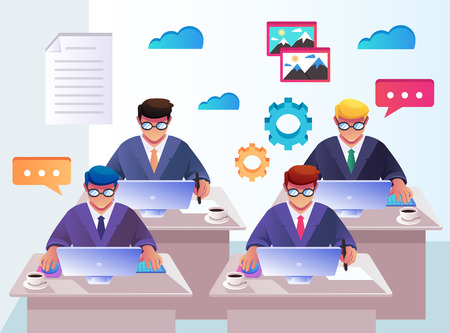 Team office workers. Workplace work space management recruitment concept. Vector flat cartoon isolated graphic design illustration Illustration