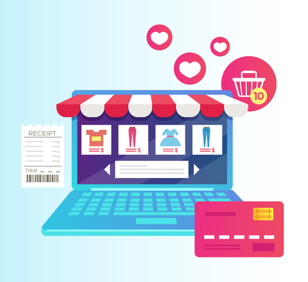 Laptop with internet shopping. Online virtual purchase retail e-commerce business. Vector flat cartoon isolated graphic design illustration Illustration