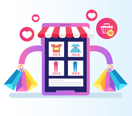 Smartphone phone with internet shopping. Online virtual purchase retail e-commerce business. Vector flat cartoon isolated graphic design illustration