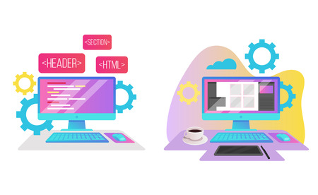 Web site building developing construction. Programming and design concept. Vector flat cartoon isolated graphic design illustration