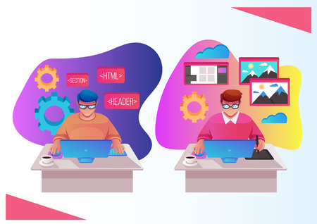Two workers man programmer and designer characters working on web site development. Programming and design concept. Vector flat cartoon isolated graphic design illustration
