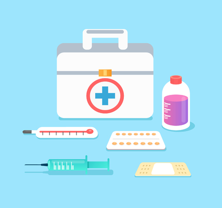 Doctors case with medical tools, pills, thermometer, syringe, plaster, syrup. Health care concept isolated icon set collection. Vector flat cartoon isolated illustration