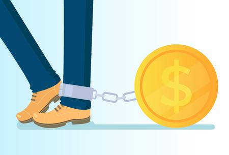 Big golden coins. Money credit wealth dependance addiction. Vector flat cartoon isolated illustration Фото со стока - 109434796
