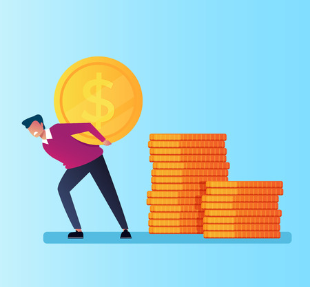 Businessman office worker manager man character holding carry big golden coin. Money credit wealth dependance addiction. Vector flat cartoon isolated illustration