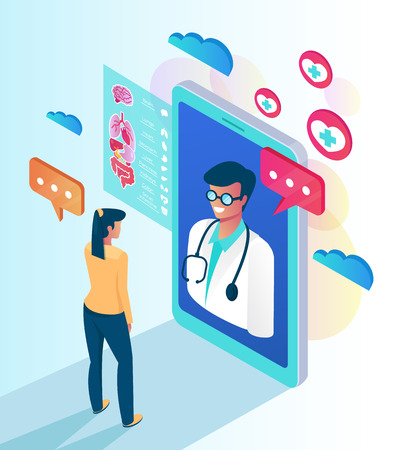Woman patient. Online web medicine clinic consultation concept. Vector flat cartoon isolated illustration