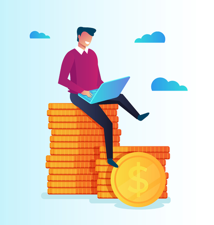 Rich businessman freelancer sitting on pile of golden coins and working. Online casino technology website. Vector flat cartoon isolated illustration