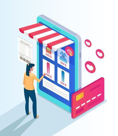 Woman consumer character making purchases by internet shop website. Online shopping e commerce concept. Vector flat cartoon isolated illustration Illustration