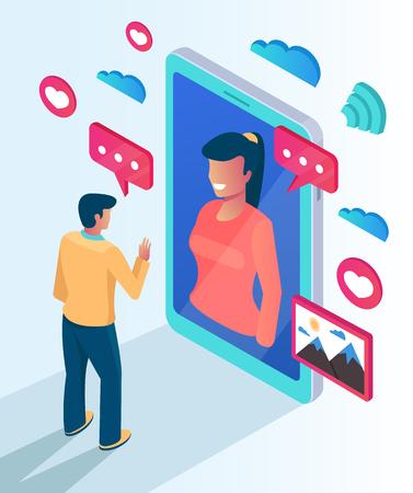 Carácter de dos personas se comunican hablando por teléfono inteligente del sitio web. Concepto de reunión de reunión de fecha de reunión de fecha de computadora en línea teléfono pc Ilustración aislada de dibujos animados plano de vector