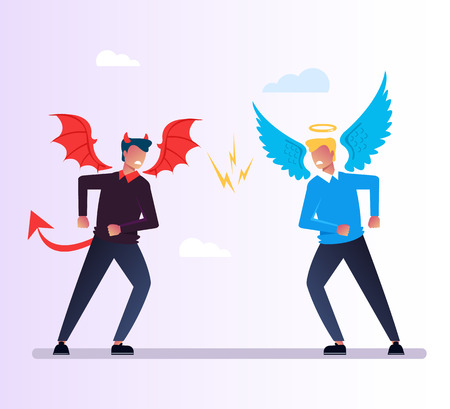 Angel and Devil character quarrels debate. God and evil conflict opposition concept. Religion vector flat cartoon graphic design isolated illustration Иллюстрация