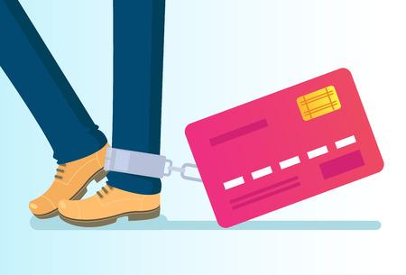 Tarjeta de crédito grande atada a la pierna con cadenas. Adicción a la dependencia de la riqueza del crédito del dinero. Ilustración aislada de dibujos animados plano de vector