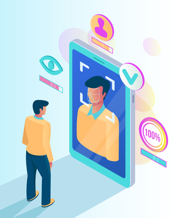Facial recognition face ID system. Man character scanning app face on screen. Vector flat cartoon graphic design isolated illustration