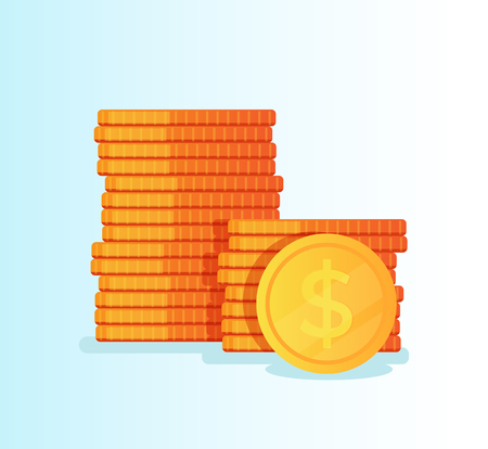 Stack of golden metallic coins. Financial success concept. Vector flat cartoon graphic design isolated illustration