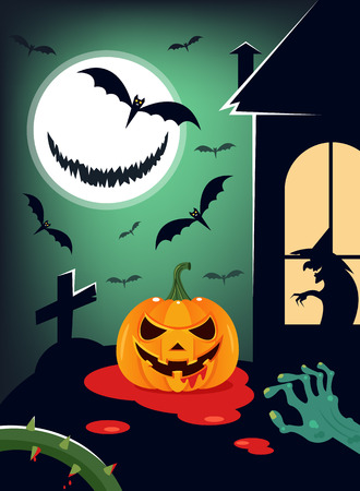 Evil pumpkin smiling at grave near witch house and zombie. Happy Halloween banner poster invite party. Vector flat cartoon graphic design illustration