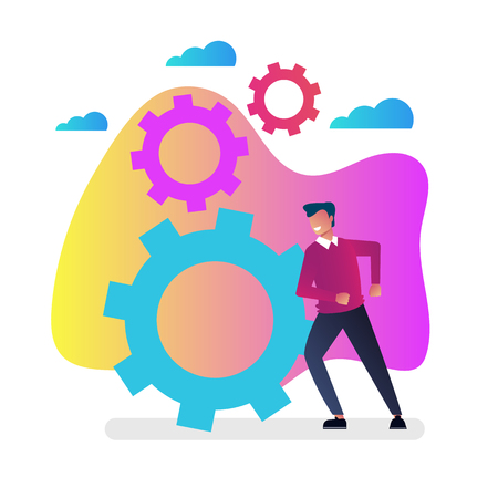 Businessman office worker character pushing gear wheels. New start up project progress hard working concept. Vector flat cartoon isolated graphic design illustration 向量圖像