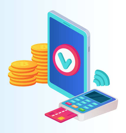 Payment terminal with green check mark and receipt and smartphone. Approved transaction successful online mobile payment system. Vector flat cartoon isolated graphic design illustration