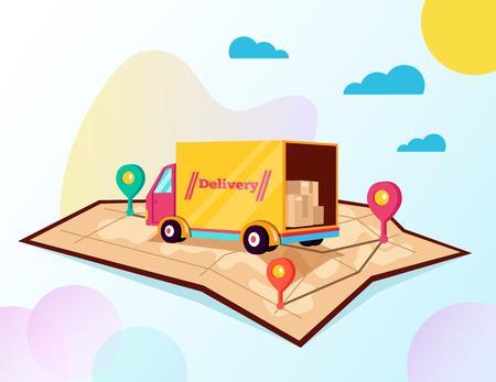Seguimiento de la entrega de carga en línea en línea. Concepto de mapa de coche de forma de seguimiento de entrega. Ilustración de diseño gráfico aislado de dibujos animados plano de vector