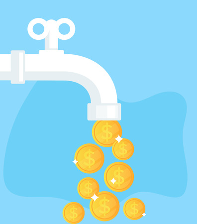 Golden coins currency. Financial success concept. Vector flat cartoon isolated graphic design illustration