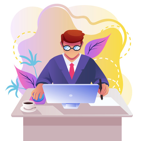 Man businessman at office laptop pc. Freelance workplace workspace concept. Vector flat cartoon isolated graphic design illustration