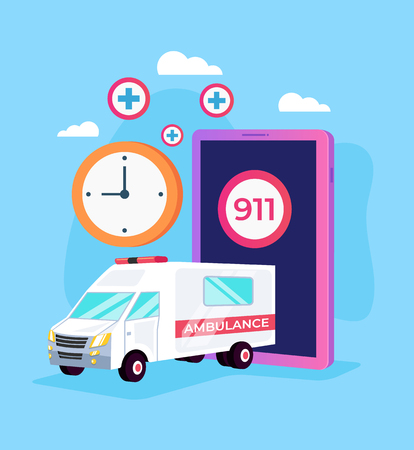 Ambulance medicine car emergency call by smartphone online internet. Aid medicine rescue disaster concept. Vector flat cartoon graphic design isolated illustration Illustration