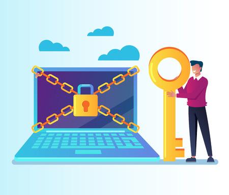 Desbloquee la información de datos personales de su computadora portátil. Concepto de contraseña de inicio de sesión en línea de protección de datos. Ilustración aislada del diseño gráfico de la historieta plana del vector
