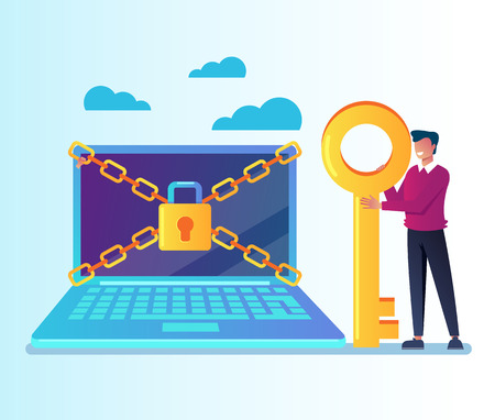 Unlock your laptop pc personal data information. Data protection online login password concept. Vector flat cartoon graphic design isolated illustration Banco de Imagens - 110640943