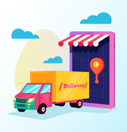 Tracking by smartphone online cargo delivery. Delivery tracking way car map concept. Vector flat cartoon isolated graphic design illustration