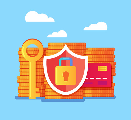 Money protection with shield and lock concept. Vector flat graphic design isolated illustration icon