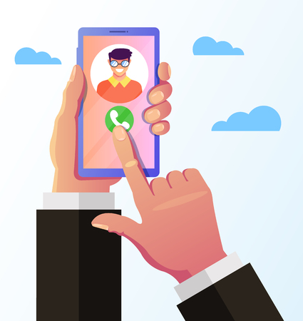Green phone call answer button on smartphone screen. Hand holding smartphone and communicated. Online connection concept. Vector flat graphic design isolated illustration icon