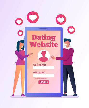 Virtuelles Dating-Treffen über das Smartphone-Internet. Beziehungsliebhaber online nach Website. Vector flaches Grafikdesign lokalisierte Illustrationsikone
