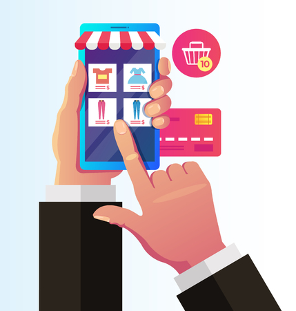 Consumer hand holding smartphone and choosing cloth dress. Online shopping purchases concept. Vector flat graphic design isolated illustration icon