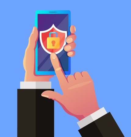 Mobile security app. User hand holding smartphone and push button. Data protection concept. Vector flat graphic design isolated illustration icon