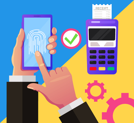 Consumer hand holding smartphone and push button. Online contactless mobile payment virtual money. Vector design graphic flat cartoon isolated illustration