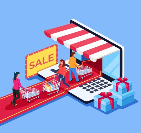 I consumatori di persone vanno al mercato dei negozi online. Concetto di acquisto del negozio al dettaglio di e-commerce online. Illustrazione isolata fumetto piano grafico di progettazione di vettore