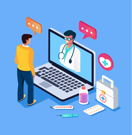 Patient man character calling doctor by internet computer pc Online doctor consultation medicine concept. Vector design graphic flat cartoon isolated illustration