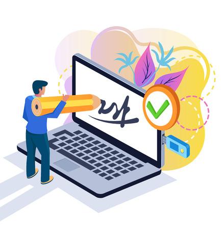 Businessman. Modern online technology concept. Vector design graphic flat cartoon isolated illustration