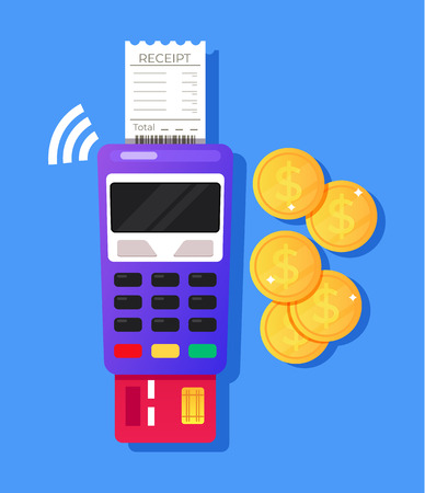 Payment terminal machine with credit card and receipt. Mobile online payment concept. Vector design graphic flat cartoon isolated illustration