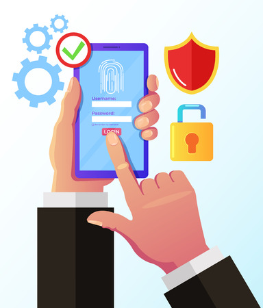 Man hand holding smartphone with fingerprint button. Online security id biometric identification concept. Vector design graphic flat cartoon isolated illustration