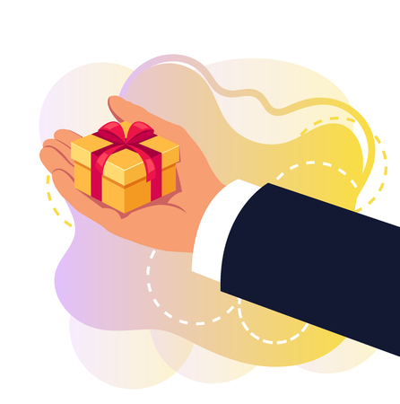Hand holding gift box. Congratulating concept. Vector flat cartoon graphic design isolated illustration concept Illustration