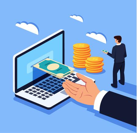 Biznesmen człowiek biuro pracownik charakter menedżera otrzymujących pieniądze waluty elektronicznej. Kantor bankowości internetowej. Wektor płaski kreskówka projekt graficzny na białym tle ilustracja koncepcja