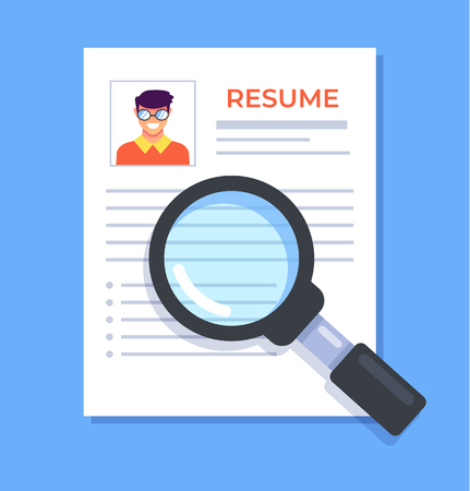 Resume paper document with photo. Head hunting recruitment human resources concept. Vector flat cartoon graphic design isolated isolated illustration 일러스트