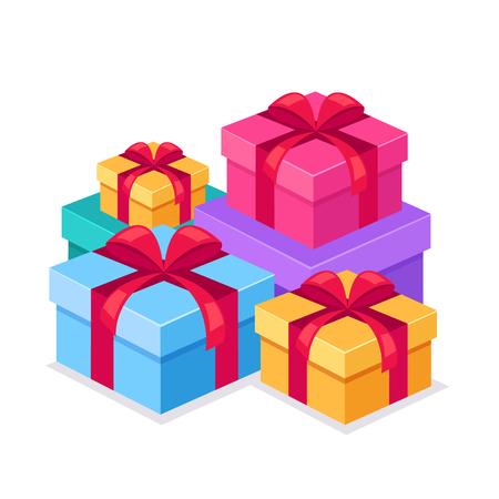 Stapel-Aktien-Geschenkbox-Symbol. Vector flaches Karikaturgrafikdesign lokalisiertes Illustrationskonzept