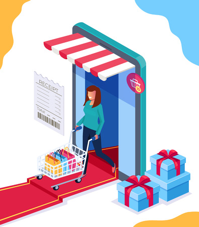 Happy woman consumer doing purchases by smartphone internet. Online shopping concept. Vector flat cartoon graphic design isolated isolated illustration
