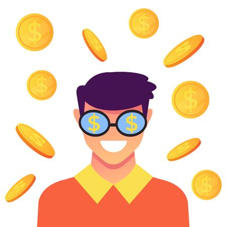 Man smiling Success concept. Vector flat cartoon graphic design isolated illustration Archivio Fotografico - 113801538