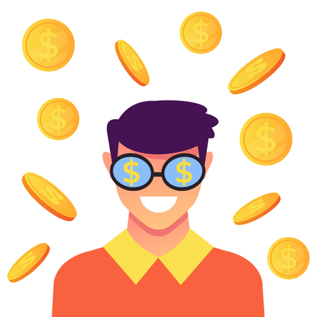 Man smiling Success concept. Vector flat cartoon graphic design isolated illustration
