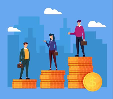 Monedas de oro. Concepto de diferencia de ingresos salariales. Ilustración aislada del diseño gráfico de la historieta plana del vector Ilustración de vector