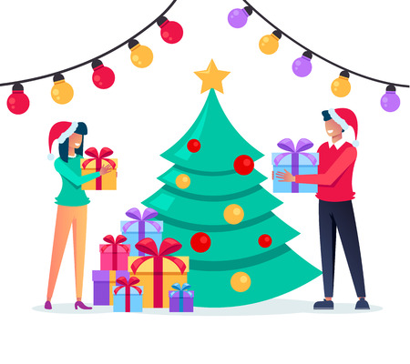 Gift boxes for each other. Marry Christmas and Happy New Year concept. Vector flat cartoon graphic design isolated illustration concept Illustration